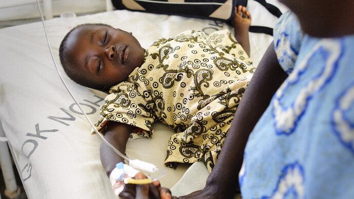 Boy severe malaria patient