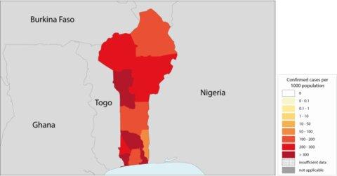 Distribution of malaria cases in Benin